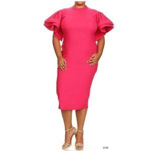 Magenta Pink Ruffle Midi Bodycon Dress Plus NWT S